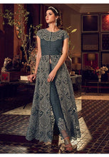 Load image into Gallery viewer, Alluring Grey Anarkali Long Lehenga Kameez Set In Silk With Diamond Work SFYDS2083
