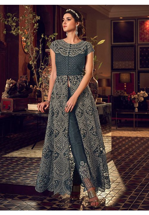 Alluring Grey Anarkali Long Lehenga Kameez Set In Silk With Diamond Work SFYDS2083