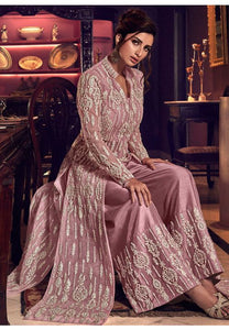 Alluring Purple Anarkali Long Suit In Net Silk Diamond Work SFYDS2084
