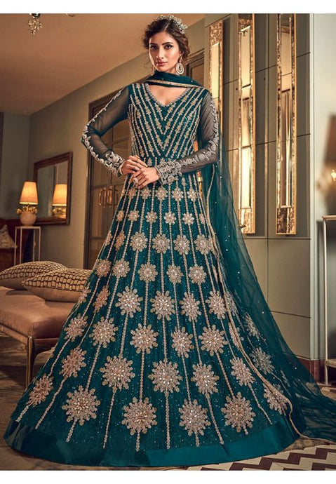 Alluring Teal Anarkali Long Suit In Net Silk Diamond Work SFYDS2083 - Siya Fashions