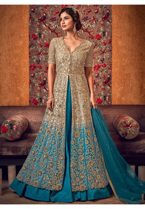 Alluring Grey Anarkali Long Lehenga Kameez Set In Silk With Diamond Work SFYDS2083 - Siya Fashions