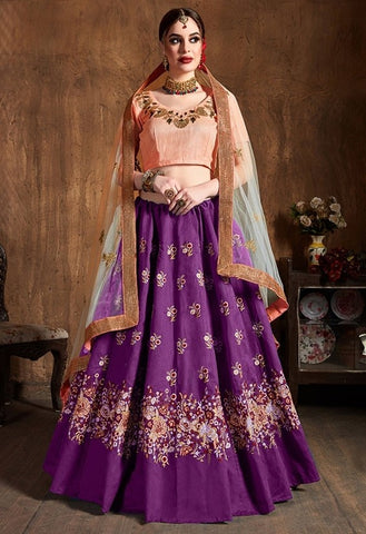 Amethyst Purple Raw Silk Lehenga SIYA3902 - Siya Fashions