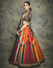 Load image into Gallery viewer, Client's Diary Multi Black Pure Silk Lehenga SFSD002 - Siya Fashions