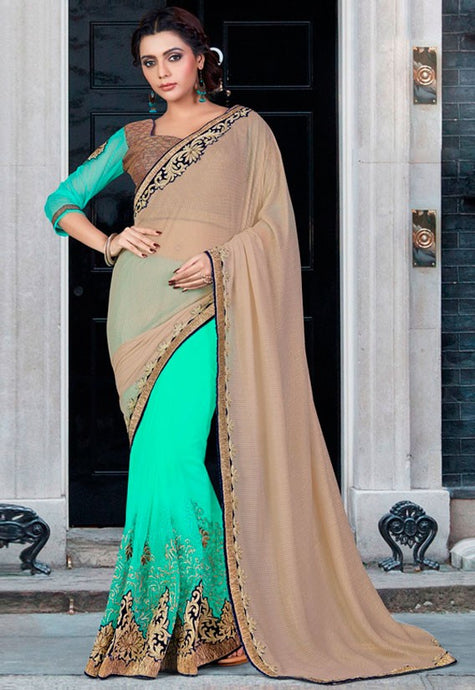 Aqua Net Georgette Saree Zari Work SIYA2023 - Siya Fashions