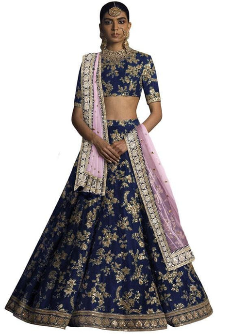 Sabyasachi Art Silk Blue And Pink Lehenga  SF9123EX - Siya Fashions