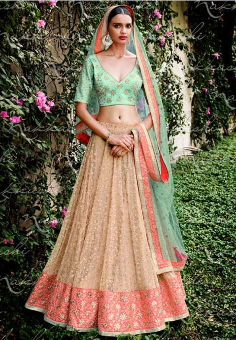 Astounding Beige Indian Wedding Bridal Lehenga In Net SFYDS795NK - Siya Fashions