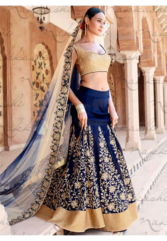 Astounding Blue Indian Wedding Bridal Lehenga In Bhagalpuri SFYDS791NK - Siya Fashions