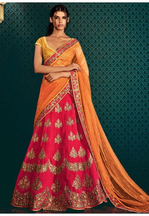 Astounding Hot Pink Indian Wedding Bridal Lehenga In Silk SFYDS796NK - Siya Fashions