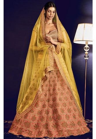 Astounding Peach Indian Wedding Bridal Lehenga In Silk SFYDS797NK - Siya Fashions