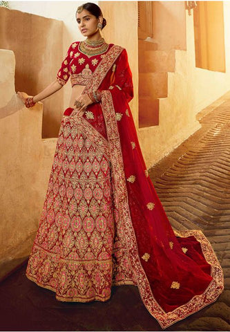 Beautiful Pure Velvet Red Color Designer Lehenga Choli SYD21565 - Siya Fashions