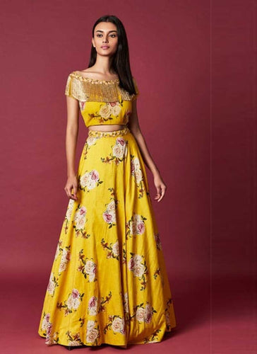 Designer Yellow Cotton Silk Fabric Lehenga Choli SFSD4641 - Siya Fashions