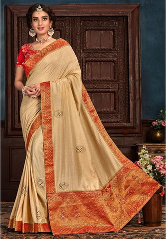 Beige Art Silk Saree Red Raw Silk Blouse YD2156EX - Siya Fashions