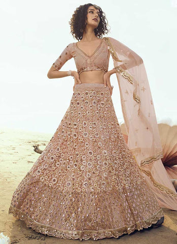 Beige Gold Bridal Wedding Reception Net Lehenga Set SF2057FZD - Siya Fashions