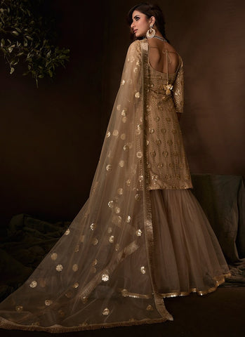 Beige Sangeet Party Net Sequinned Sharara Suit FZ101 - Siya Fashions