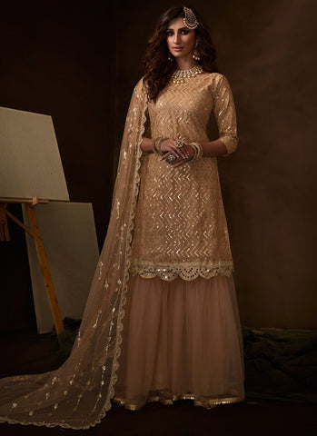 Beige Sangeet Party Net Zigzag Sequinned Sharara Suit FZ104 - Siya Fashions