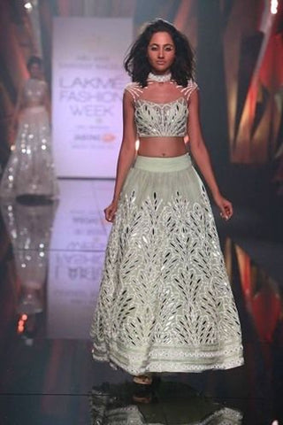 Bespoke Reception Mint Lehenga Leather Applique Work In Silk SF189IN - Siya Fashions