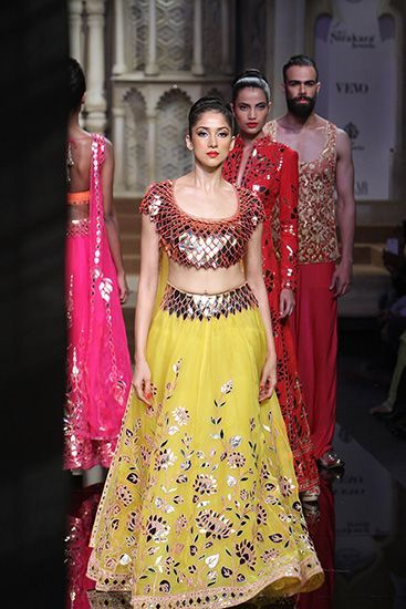 Bespoke Reception Yellow Lehenga With Leather Applique Work SF190IN