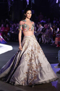 Quotidian Cocktail Bridal Lehenga In Grey With Zari Beaded Work SF87IN - Siya Fashions