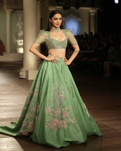 Reception Green Silk Lehenga Embroidery Floral Work SF187IN - Siya Fashions