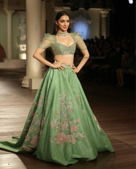 Reception Green Silk Lehenga Choli With Embroidery Floral Work SF187IN