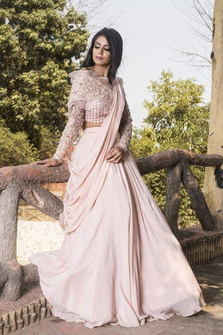 Wedding Cocktail Bridal Lehenga In Peach With Double Layer SFIN2230 - Siya Fashions