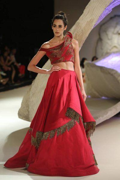 Wedding Cocktail Bridal Lehenga In Red With Double Layer SF90IN - Siya Fashions