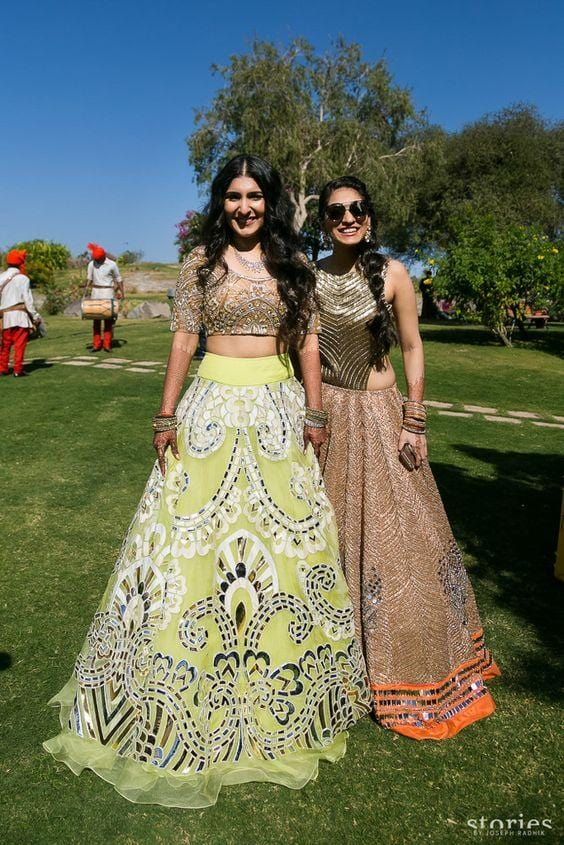 Wedding Reception Lime Yellow Lehenga With Leather Applique Work SF801IN - Siya Fashions