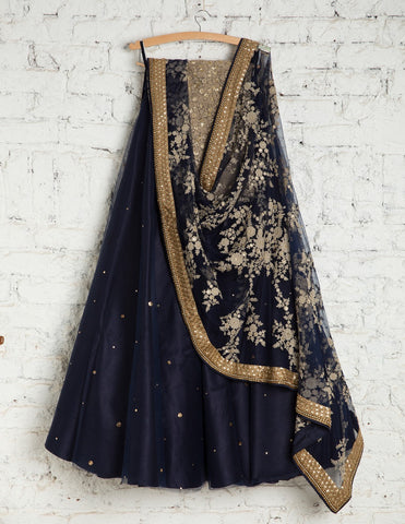 Black Bridal Reception Lehenga Set In Net Heavy Handwork INS131 - Siya Fashions