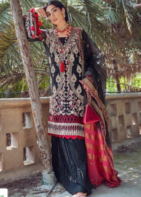 Black Kinaar by Shiza Hassan Embroidered Poly Net Suit 3 Piece Suit - Naina - Siya Fashions