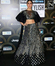 Load image into Gallery viewer, Black Cocktail Reception Prom Lehenga Skirt SF099IN - Siya Fashions