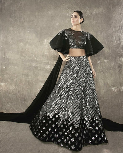 Black Cocktail Reception Prom Lehenga Skirt SF099IN - Siya Fashions