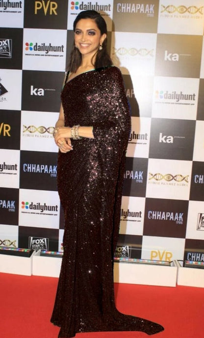 Black Deepika Inspired Georgette Saree Sequin SIYABOL1626 - Siya Fashions
