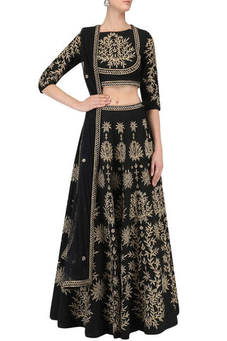 Black Deisgner Lehenga Choli With Zari Work S823YD