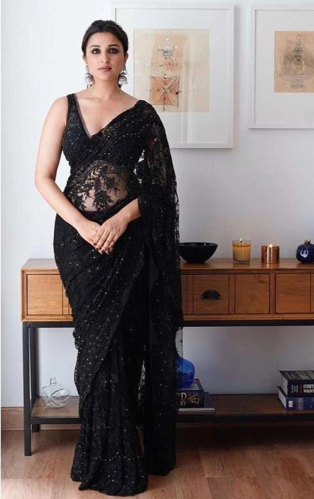 Black Parineeti Chopra Saree Net SFBOL789 - Siya Fashions