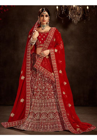 Blamy Red Bridal Velvet Lehenga Set Hand Embroidery MAYYDS56 - Siya Fashions