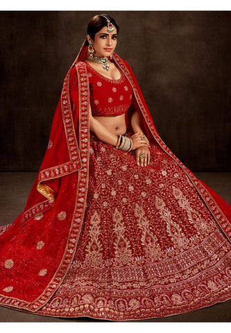 Blamy Red Bridal Velvet Lehenga Set MAYYDS55 - Siya Fashions