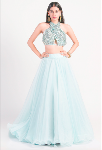 Blue 3 Piece Cocktail Evening Lehenga In Organza SFBIRDAL076 - Siya Fashions