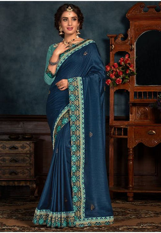 Blue Art Silk Saree Pastel Blue Raw Silk Blouse YD2159EX - Siya Fashions