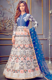 Blue Net Floral Embroidery Long Anarkali Gown SFYDS91 - Siya Fashions