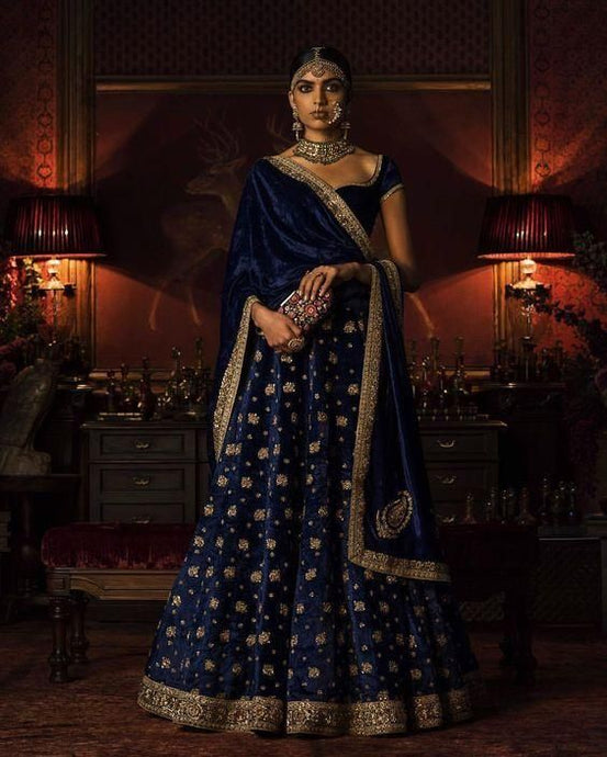 Blue Bridal Velvet Lehenga Choli Gold Embroidery SFIN3721 - Siya Fashions