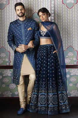 Blue Bridal Wedding Handwork In Silk SFINS455 - Siya Fashions