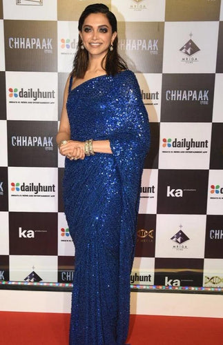 Blue Deepika Inspired Georgette Saree Sequin SIYABOL1221 - Siya Fashions