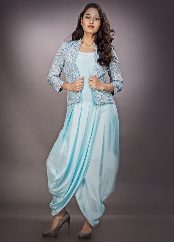 Blue Dhoti Style Dress In Silk With Fancy Work SF122Y - Siya Fashions