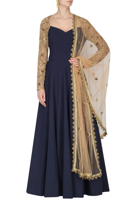 Designer Indian Blue Long Sleeves Anarkali Long Suit - Siya Fashions
