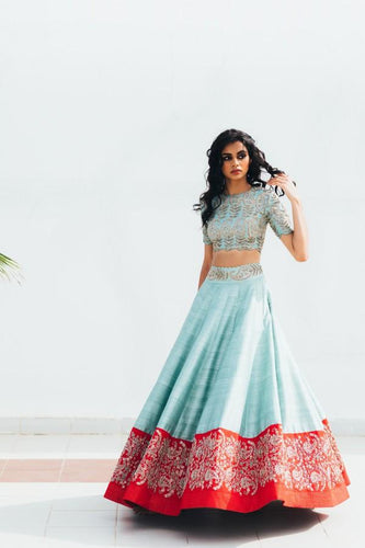 Blue Pink Border Silk Lehenga Set Zardozi Work SINS4421