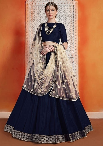 Blue Silk Lehenga Choli Pearl Zari Work SF3289YD - Siya Fashions