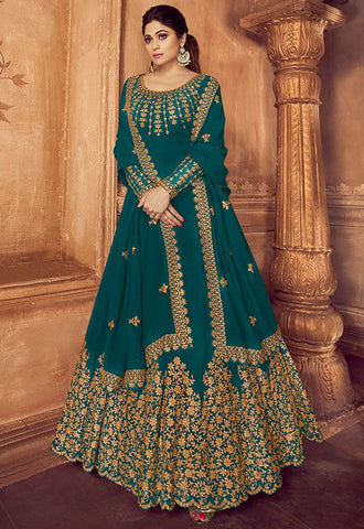 Bollywood Outfit Anarkali Long Gown In Teal With Georgette Work SF043YDS - Siya Fashions