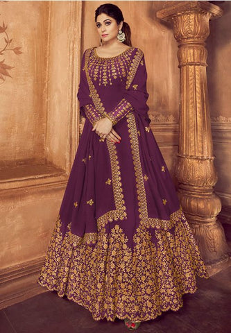 Bollywood Outfit Anarkali Long Gown In Wine With Georgette Work SF045YDS - Siya Fashions
