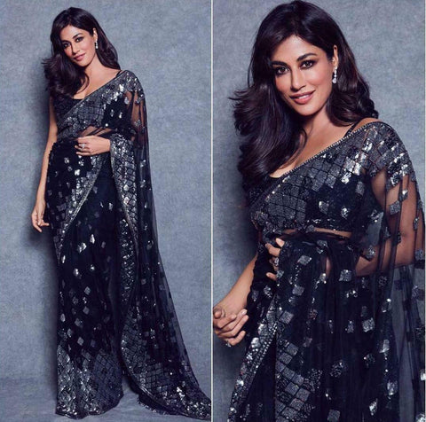 Bollywood Partywear Black Saree In Net BOLY910