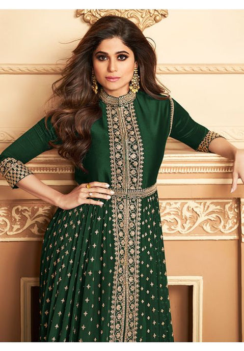Bollywood Shamita Shetty Green Anarkali Salwar Suit In Georgette Buttis BOLSF5645 - Siya Fashions